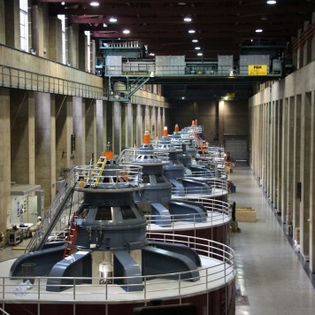 Power generation turbines. Hoover Dam.