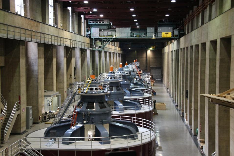 Power generation turbines. Hoover Dam.