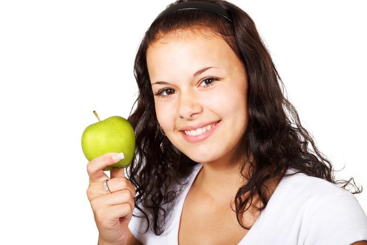 people, woman, apple