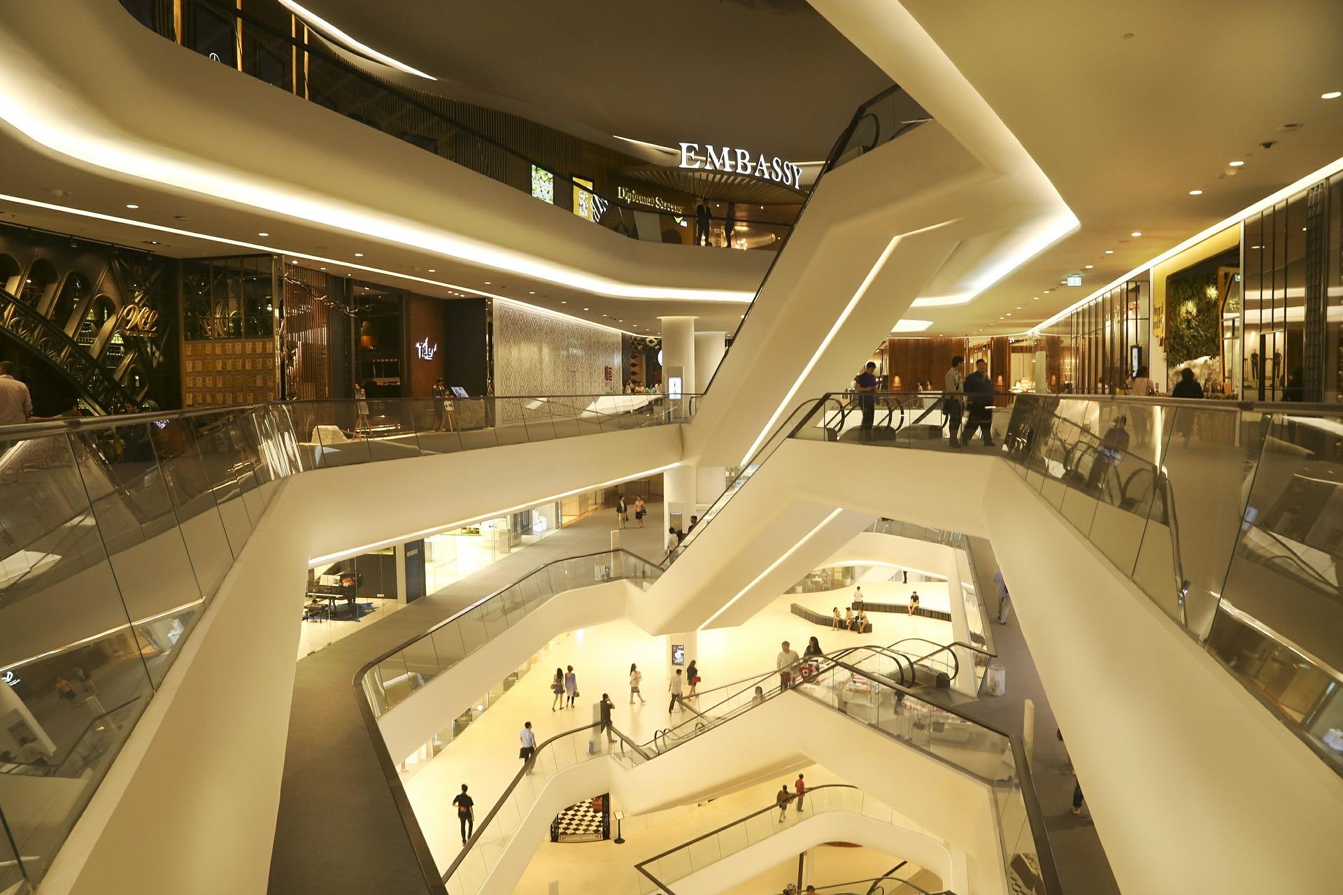 mall, escalator,