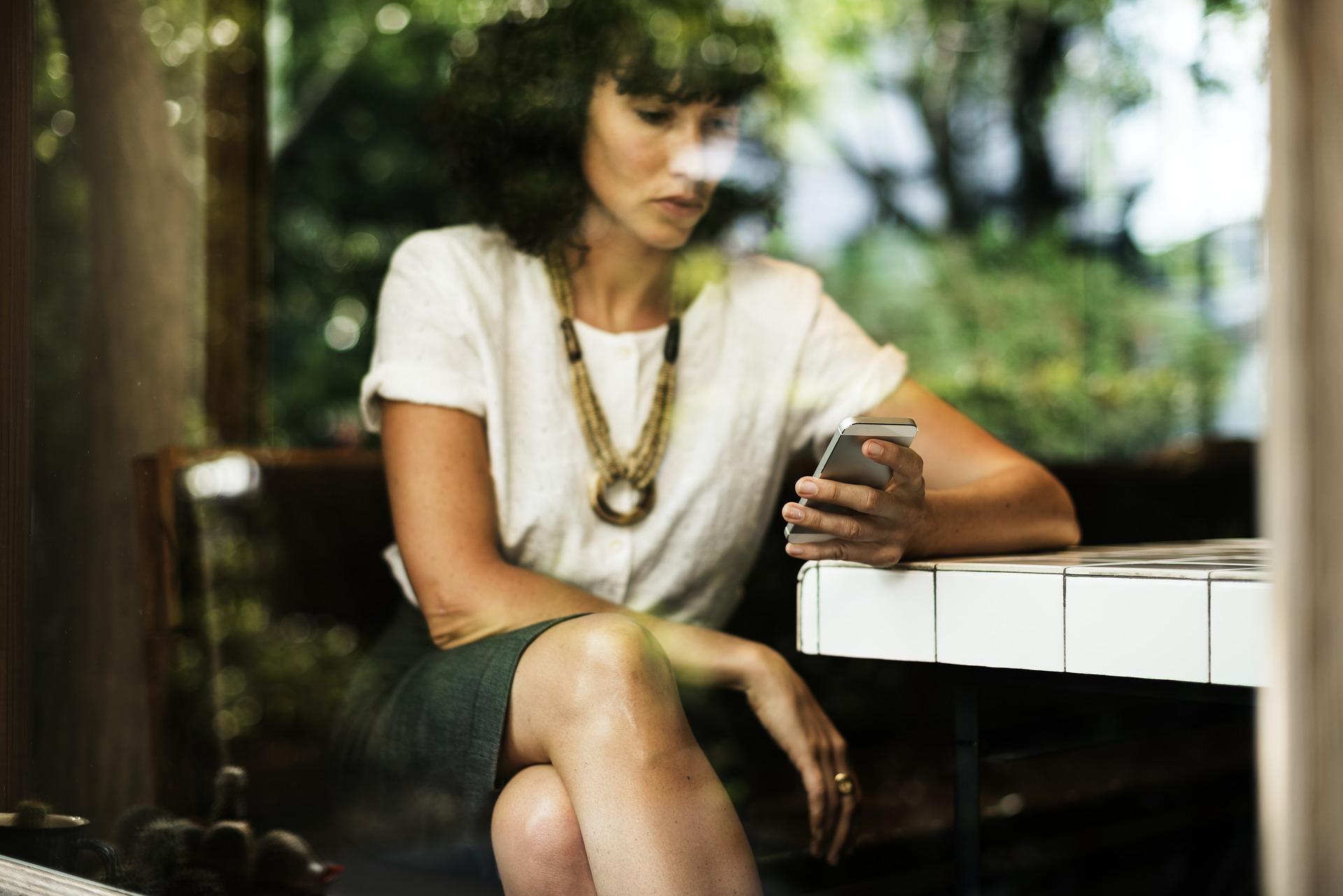 people, woman, phone