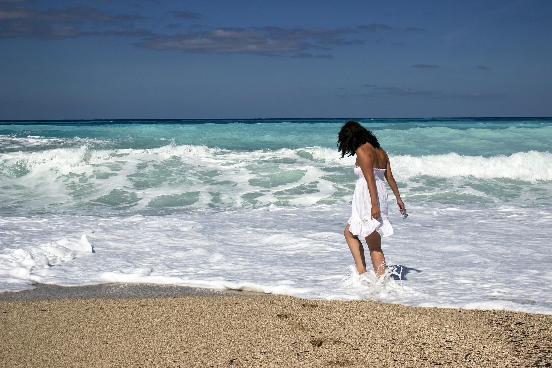 beach, waves, woman