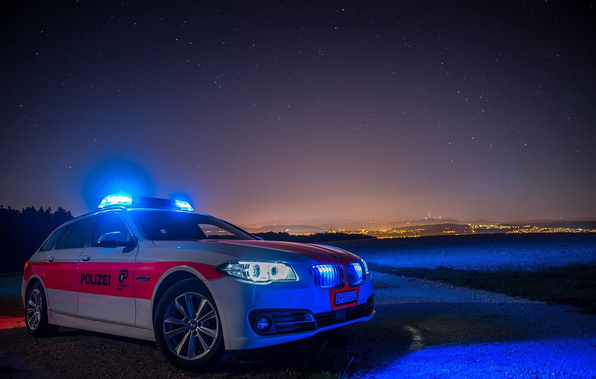 Police, car, night