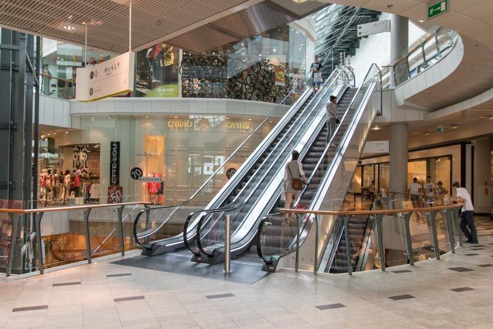 retail, mall, escolator