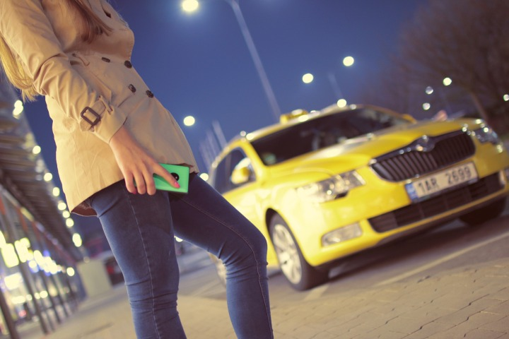 taxi, woman, cab