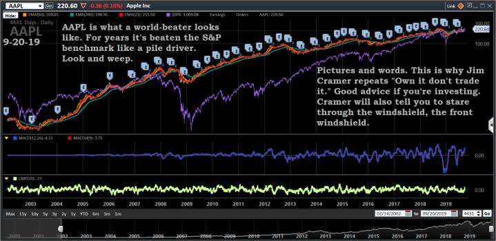 Chart, AAPL, 9-20-19, long term
