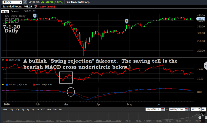 FICO, 7-1-20, Bullish Swing rejection fakeout